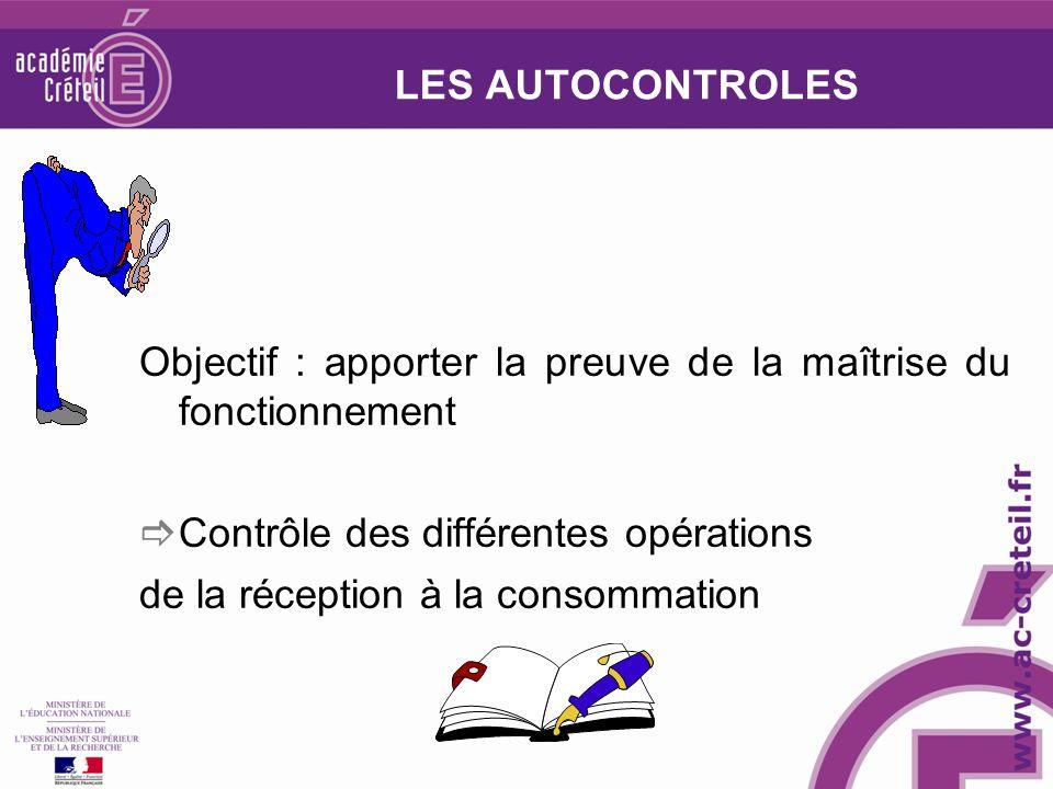 LES AUTOCONTROLES Objectif : apporter la preuve de la maîtrise du fonctionnement Contrôle des différentes opérations de la réception à la consommation