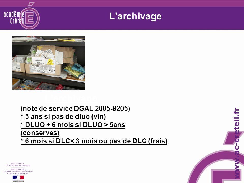 Larchivage (note de service DGAL 2005-8205) * 5 ans si pas de dluo (vin) * DLUO + 6 mois si DLUO > 5ans (conserves) * 6 mois si DLC< 3 mois ou pas de DLC (frais) Larchivage