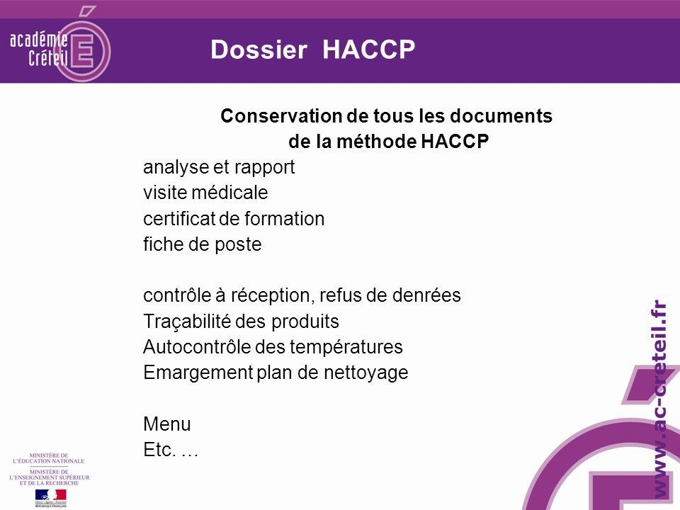 Dossier HACCP Conservation de tous les documents de la méthode HACCP analyse et rapport visite médicale certificat de formation fiche de poste contrôle à réception, refus de denrées Traçabilité des produits Autocontrôle des températures Emargement plan de nettoyage Menu Etc.