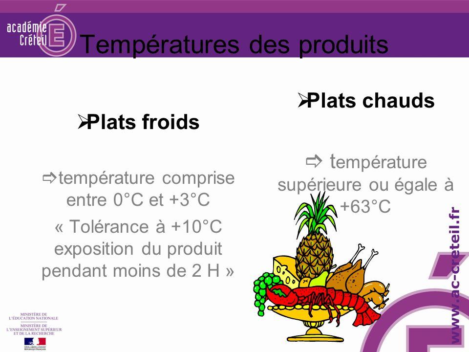 Températures des produits Plats froids température comprise entre 0°C et +3°C « Tolérance à +10°C exposition du produit pendant moins de 2 H » Plats c