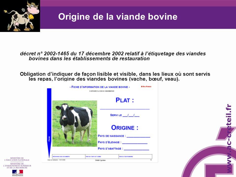 Origine de la viande bovine décret n° 2002-1465 du 17 décembre 2002 relatif à létiquetage des viandes bovines dans les établissements de restauration Obligation dindiquer de façon lisible et visible, dans les lieux où sont servis les repas, lorigine des viandes bovines (vache, bœuf, veau).
