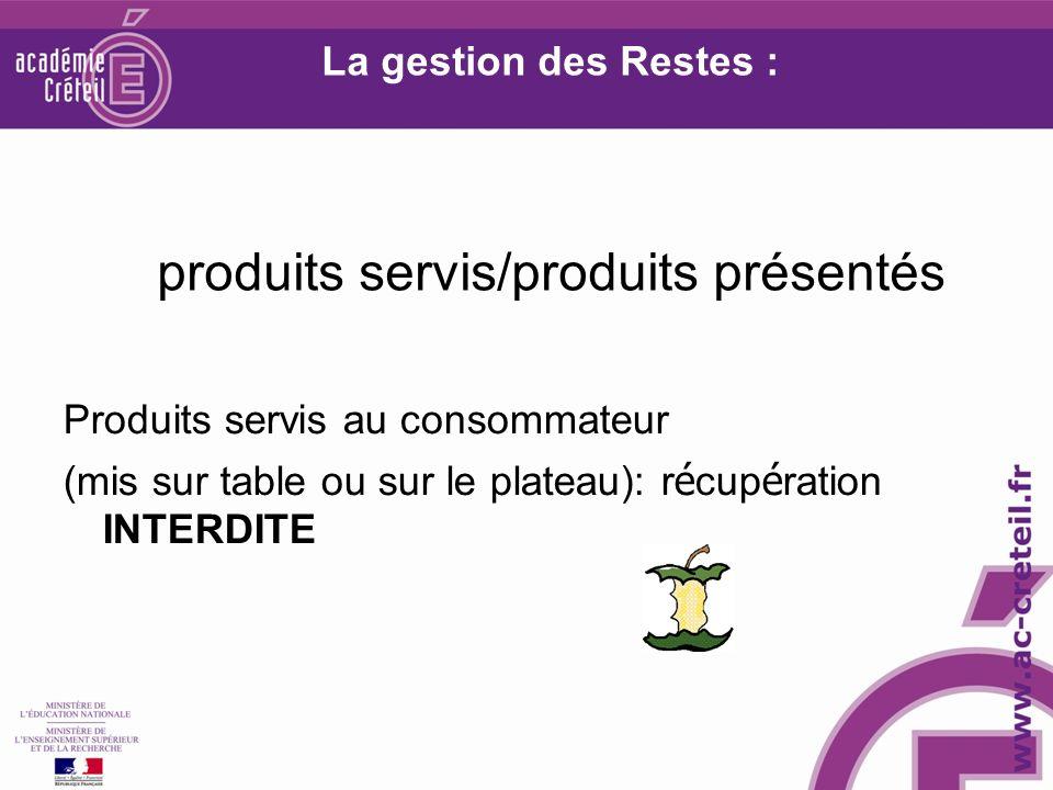 La gestion des Restes : produits servis/produits présentés Produits servis au consommateur (mis sur table ou sur le plateau): r é cup é ration INTERDITE