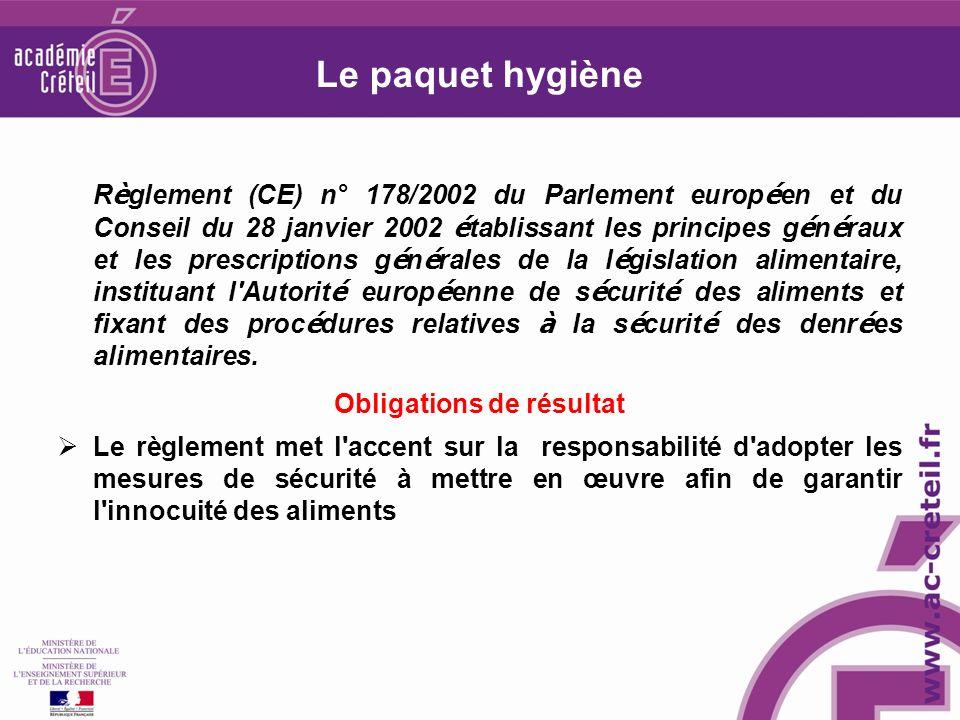 Le paquet hygiène R è glement (CE) n° 178/2002 du Parlement europ é en et du Conseil du 28 janvier 2002 é tablissant les principes g é n é raux et les