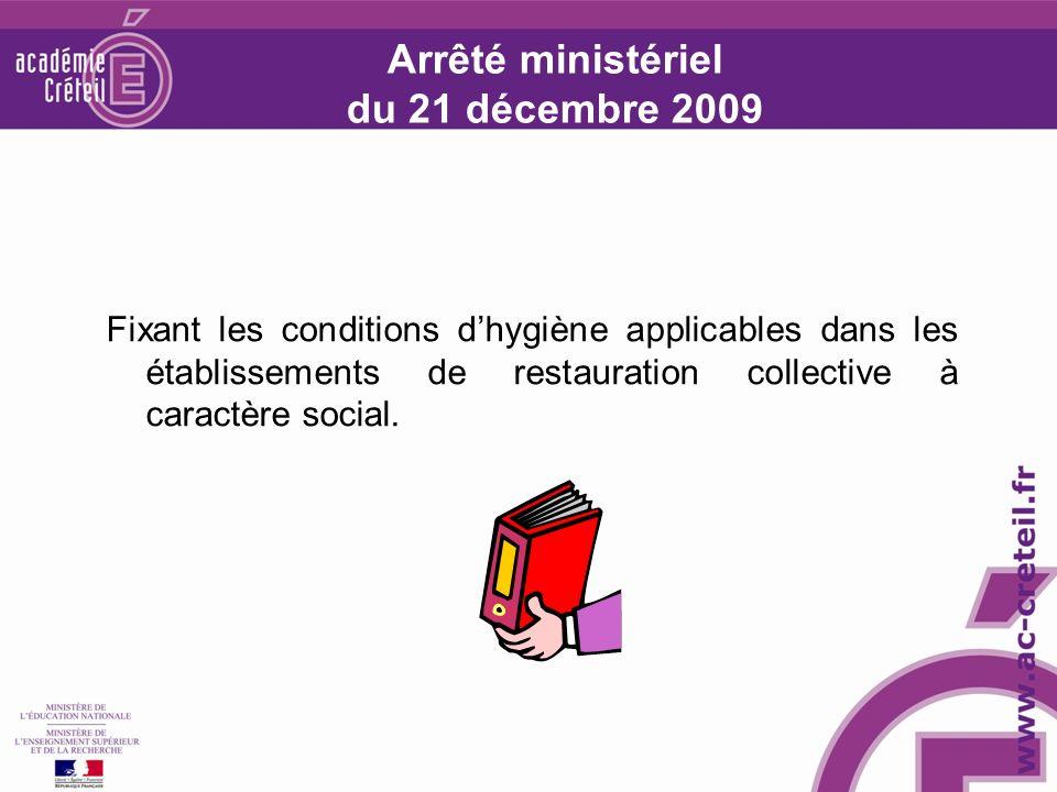 Arrêté ministériel du 21 décembre 2009 Fixant les conditions dhygiène applicables dans les établissements de restauration collective à caractère social.