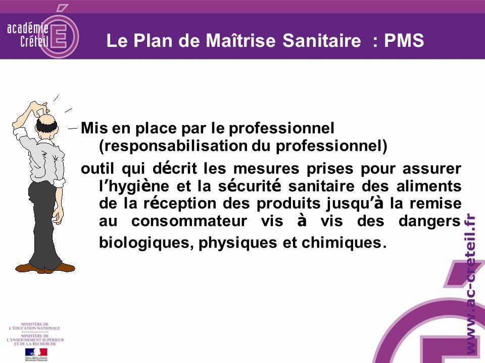 Le Plan de Maîtrise Sanitaire : PMS Mis en place par le professionnel (responsabilisation du professionnel) outil qui d é crit les mesures prises pour
