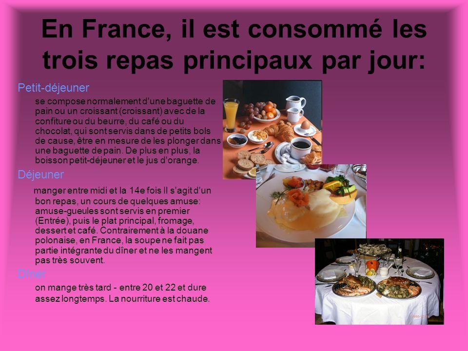En France, il est consommé les trois repas principaux par jour: Petit-déjeuner se compose normalement d'une baguette de pain ou un croissant (croissan