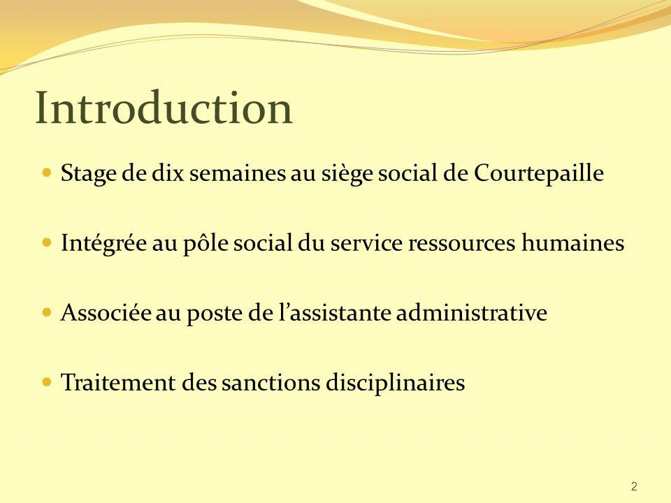 Introduction Stage de dix semaines au siège social de Courtepaille Intégrée au pôle social du service ressources humaines Associée au poste de lassistante administrative Traitement des sanctions disciplinaires 2