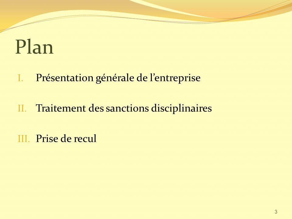 Plan I.Présentation générale de lentreprise II. Traitement des sanctions disciplinaires III.