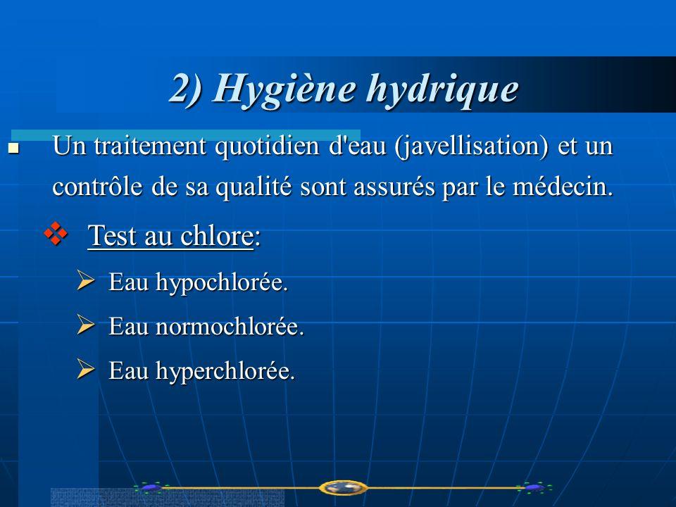 2) Hygiène hydrique Un traitement quotidien d'eau (javellisation) et un contrôle de sa qualité sont assurés par le médecin. Un traitement quotidien d'