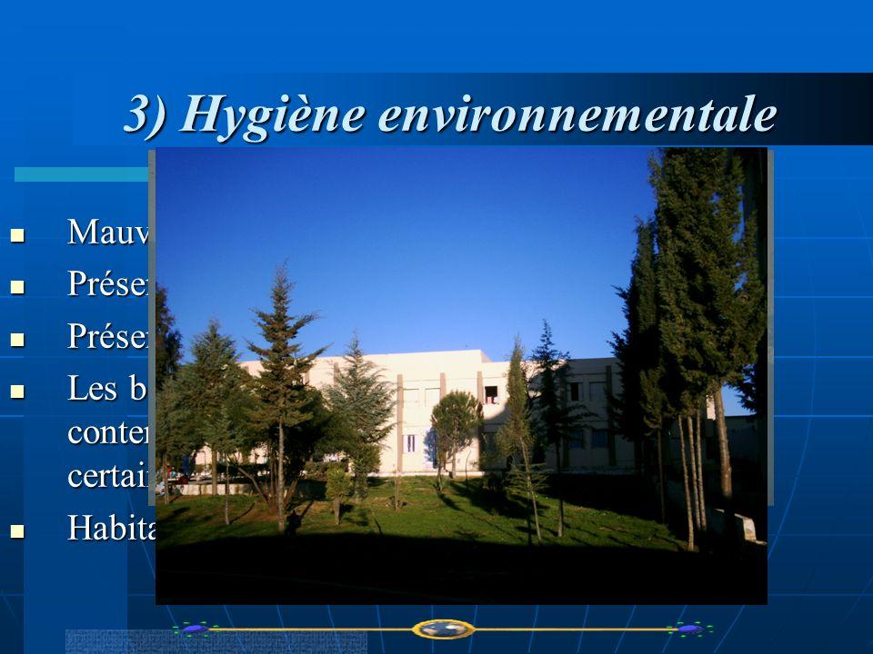 3) Hygiène environnementale 3) Hygiène environnementale Mauvaise hygiène des sanitaires et des douches. Mauvaise hygiène des sanitaires et des douches