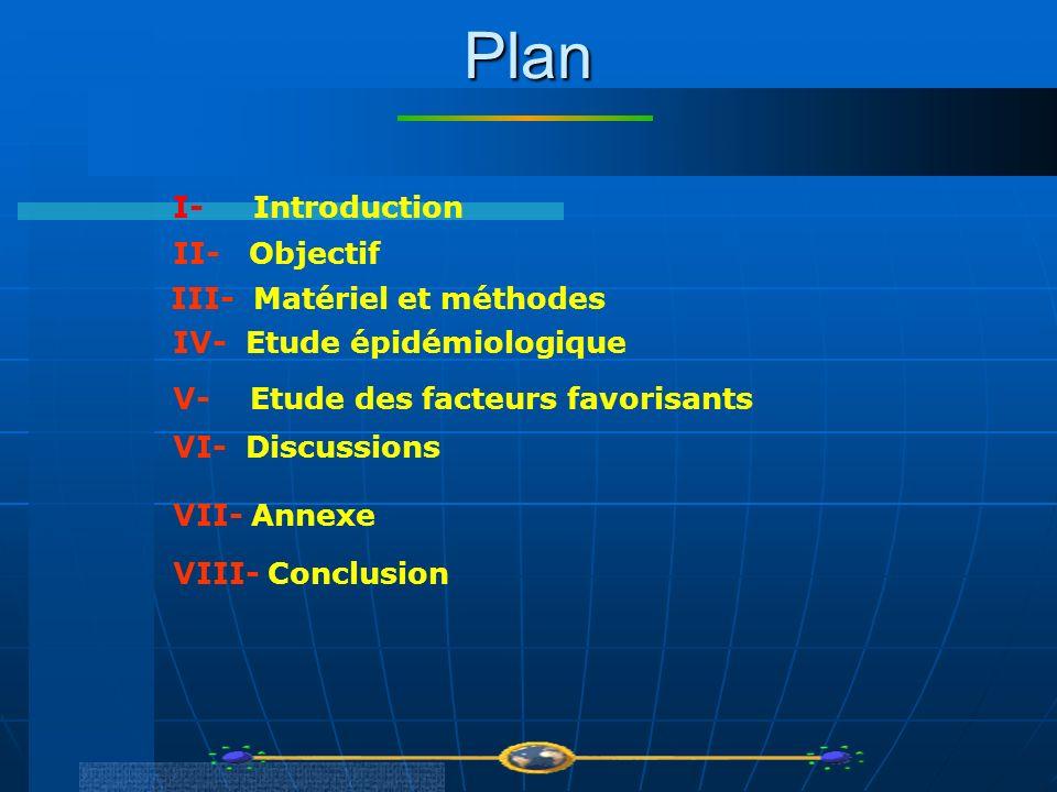 Plan I- Introduction II- Objectif III- Matériel et méthodes IV- Etude épidémiologique VI- Discussions V- Etude des facteurs favorisants VII- Annexe VI