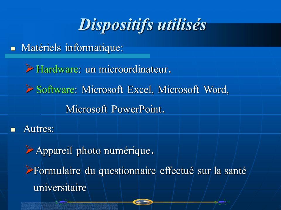 Dispositifs utilisés Dispositifs utilisés Matériels informatique: Matériels informatique: Hardware: un microordinateur. Hardware: un microordinateur.