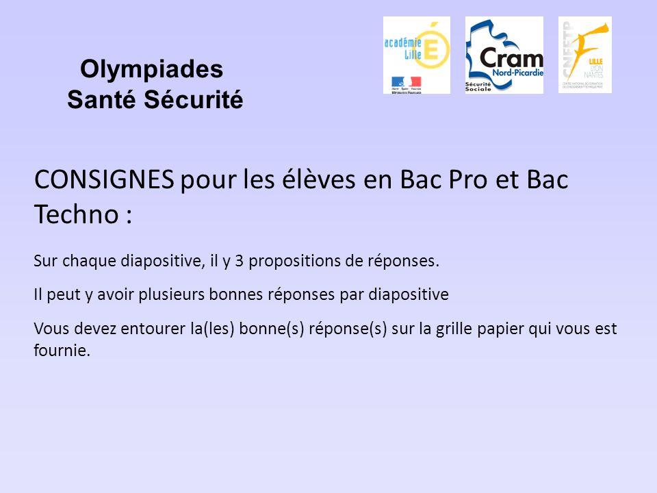 Olympiades Santé Sécurité CONSIGNES pour les élèves en Bac Pro et Bac Techno : Sur chaque diapositive, il y 3 propositions de réponses.