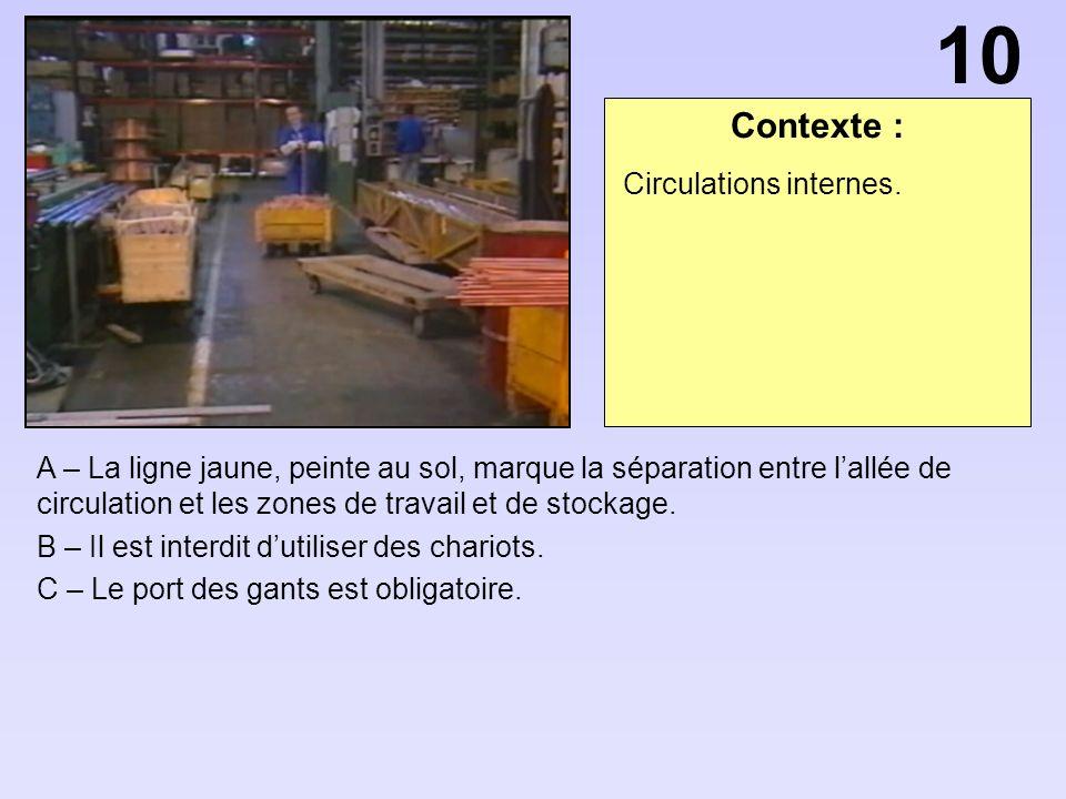 Contexte : A – La ligne jaune, peinte au sol, marque la séparation entre lallée de circulation et les zones de travail et de stockage.