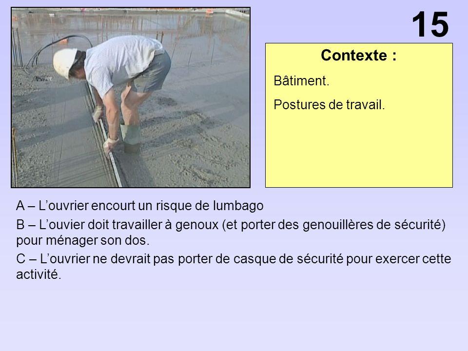 Contexte : A – Louvrier encourt un risque de lumbago B – Louvier doit travailler à genoux (et porter des genouillères de sécurité) pour ménager son dos.