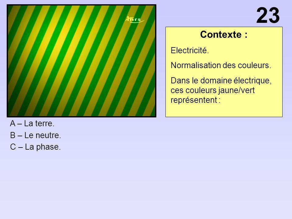 Contexte : A – La terre.B – Le neutre. C – La phase.