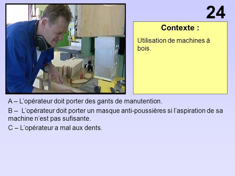 Contexte : A – Lopérateur doit porter des gants de manutention.