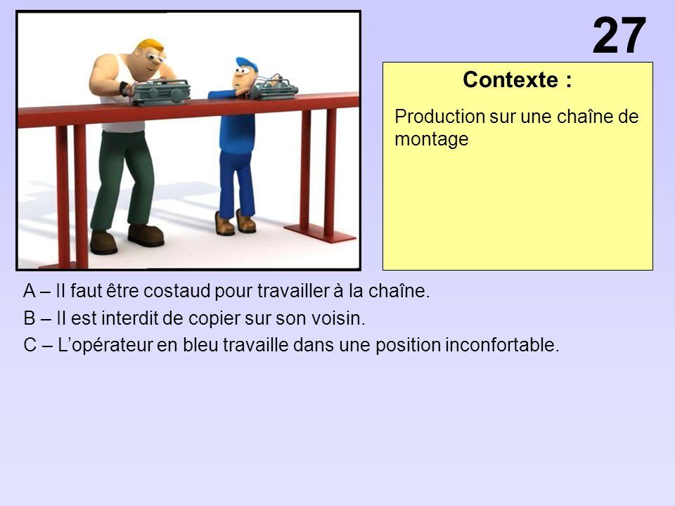 Contexte : A – Il faut être costaud pour travailler à la chaîne.
