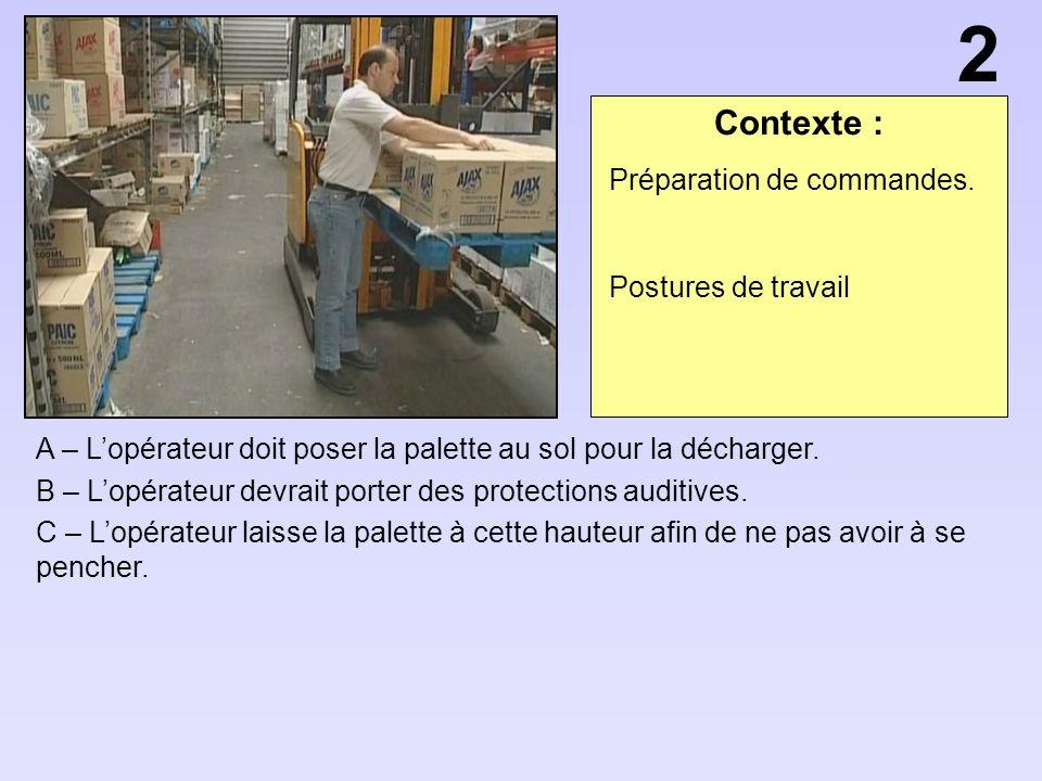 Contexte : A – Lopérateur doit poser la palette au sol pour la décharger.