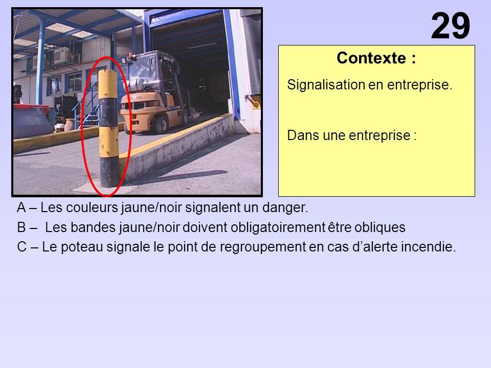 Contexte : A – Les couleurs jaune/noir signalent un danger.