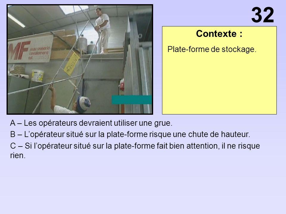 Contexte : A – Les opérateurs devraient utiliser une grue.