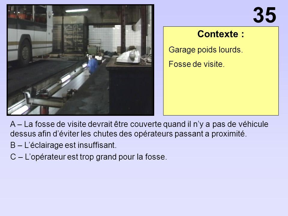 Contexte : A – La fosse de visite devrait être couverte quand il ny a pas de véhicule dessus afin déviter les chutes des opérateurs passant a proximité.