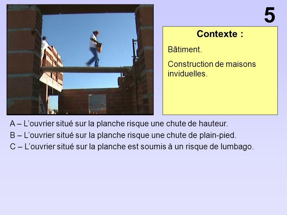 Contexte : A – Louvrier situé sur la planche risque une chute de hauteur.