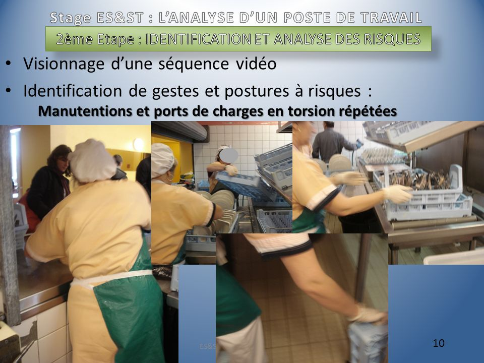 Visionnage dune séquence vidéo Identification de gestes et postures à risques : ES&ST V. MASSENOT 2009 10 Manutentions et ports de charges en torsion