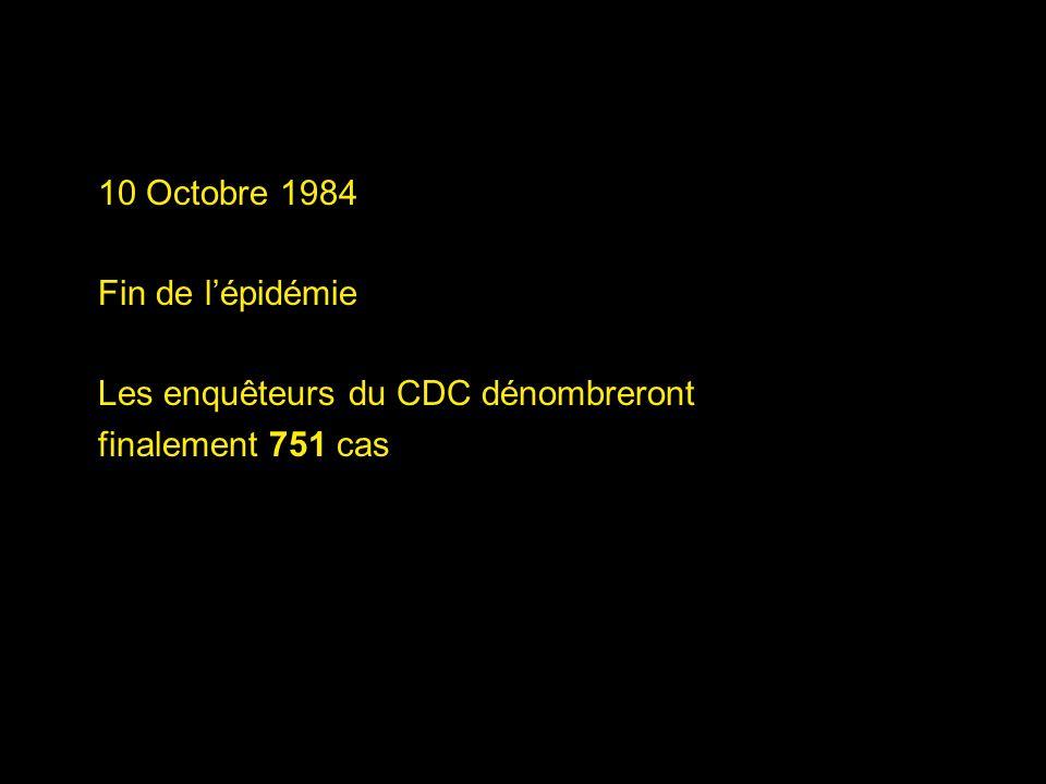 10 Octobre 1984 Fin de lépidémie Les enquêteurs du CDC dénombreront finalement 751 cas