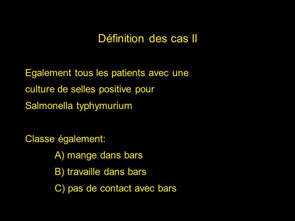 Définition des cas II Egalement tous les patients avec une culture de selles positive pour Salmonella typhymurium Classe également: A) mange dans bars