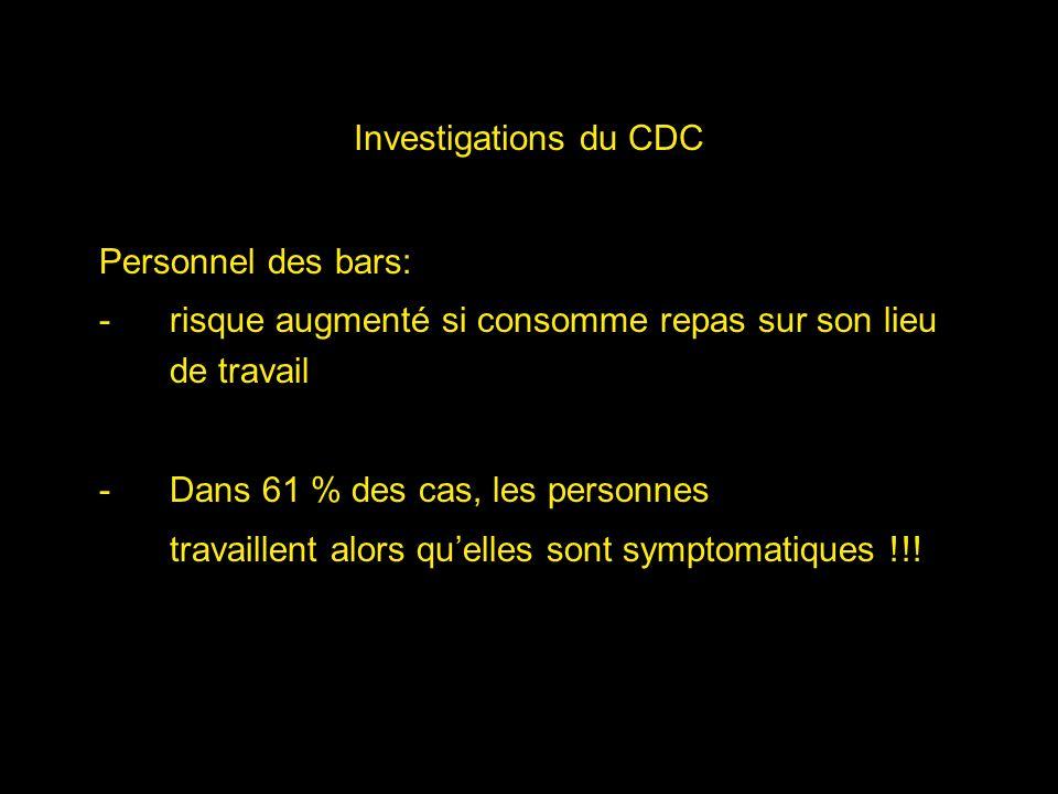 Investigations du CDC Personnel des bars: -risque augmenté si consomme repas sur son lieu de travail -Dans 61 % des cas, les personnes travaillent alo