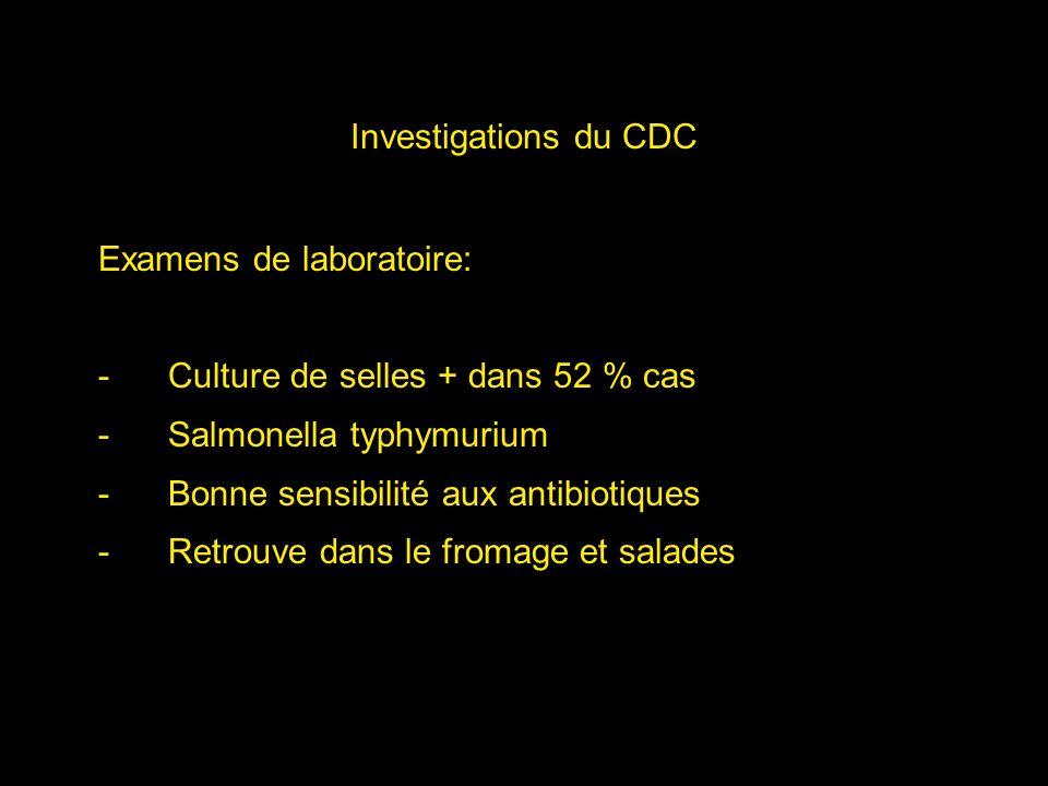 Investigations du CDC Examens de laboratoire: -Culture de selles + dans 52 % cas -Salmonella typhymurium -Bonne sensibilité aux antibiotiques -Retrouv