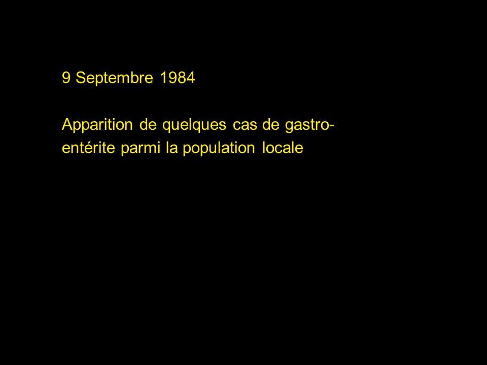 13 septembre 1984 Dix-neufs nouveaux cas sont recensés parmi la population locale …
