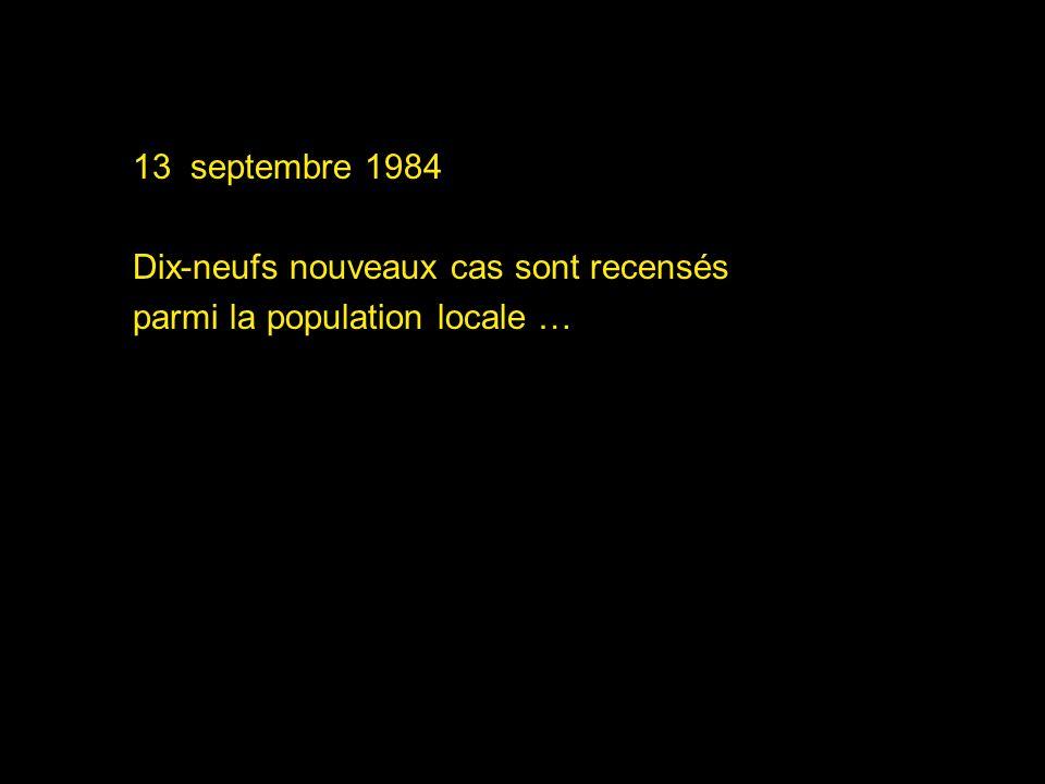 15 septembre 1984 On dénombre maintenant une quarantaine de cas dans le comté de Waco Les premiers résultats danalyse confirment une infection à Salmonella typhimurium