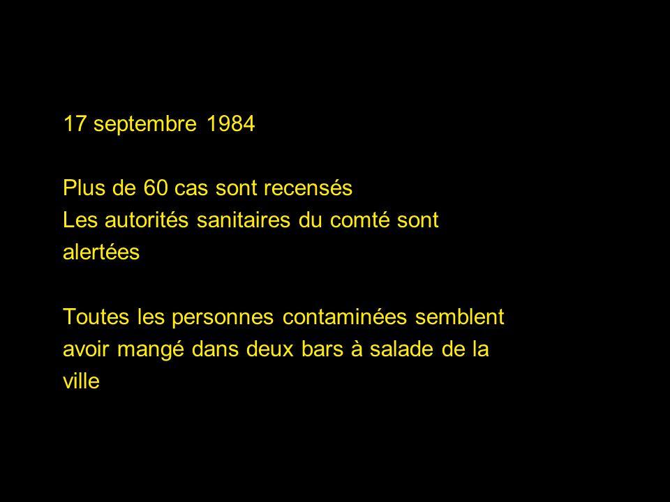 17 septembre 1984 Plus de 60 cas sont recensés Les autorités sanitaires du comté sont alertées Toutes les personnes contaminées semblent avoir mangé d