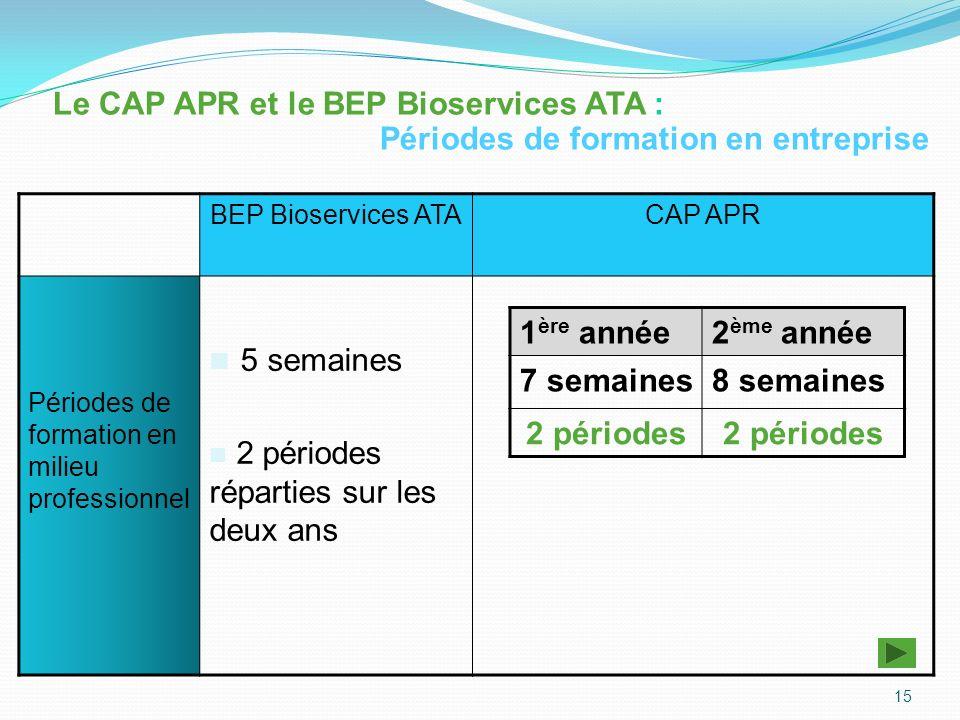 16 Le CAP APR Périodes de formation en milieu professionnel