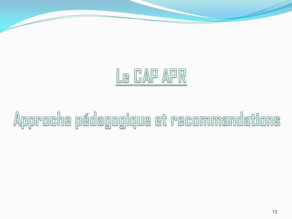 20 Le CAP APR Recommandations de la répartition horaire