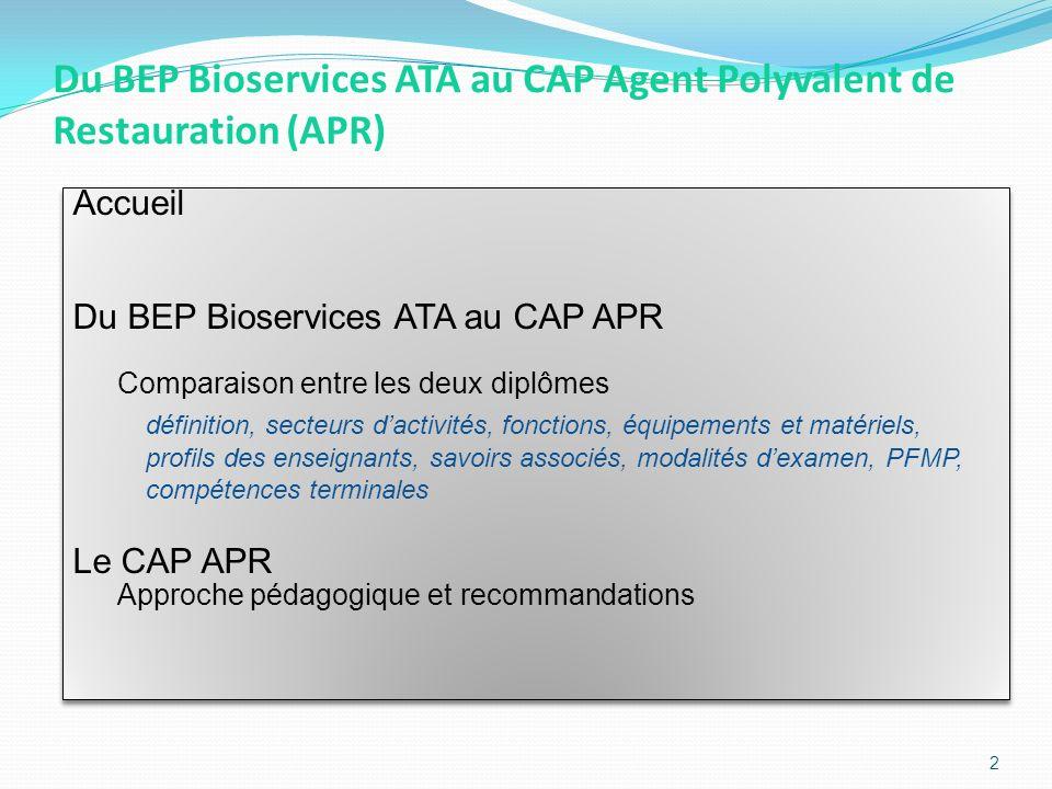 Le CAP APR et le BEP Bioservices ATA définitions BEP Bioservices ATACAP APR Définition Ouvrier qualifié spécialiste de lhygiène, de la prévention et du traitement des biocontaminations dans les collectivités.