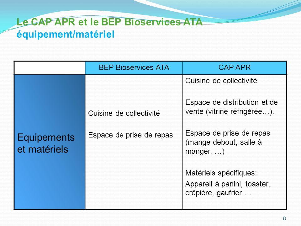 BEP Bioservices ATACAP APR Profils des enseignants PLP Biotechnologies Santé environnement PLP Biotechnologies Santé environnement 7 Le CAP APR et le BEP Bioservices ATA Profil des enseignants