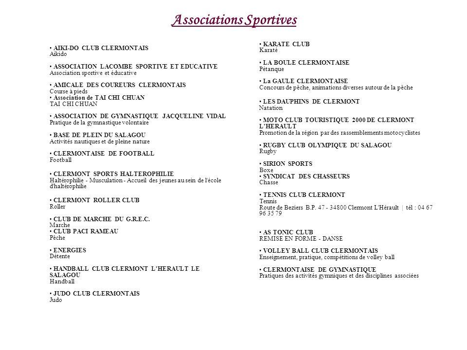 Associations Sportives AIKI-DO CLUB CLERMONTAIS Aikido ASSOCIATION LACOMBE SPORTIVE ET EDUCATIVE Association sportive et éducative AMICALE DES COUREUR