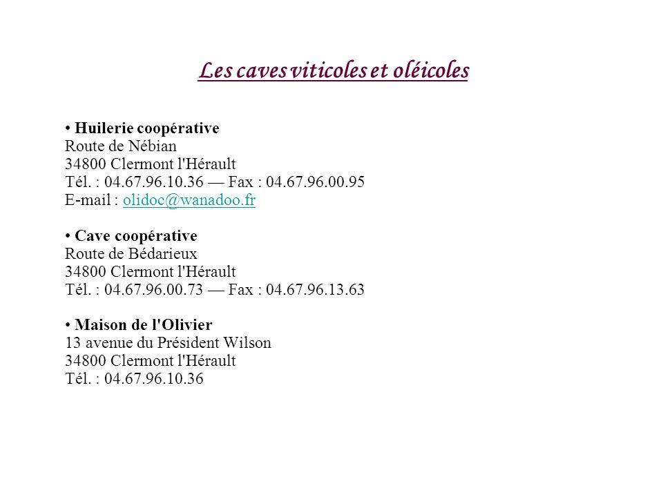 Les caves viticoles et oléicoles Huilerie coopérative Route de Nébian 34800 Clermont l'Hérault Tél. : 04.67.96.10.36 Fax : 04.67.96.00.95 E-mail : oli