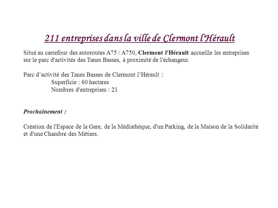 211 entreprises dans la ville de Clermont l'Hérault Situé au carrefour des autoroutes A75 / A750, Clermont l'Hérault accueille les entreprises sur le