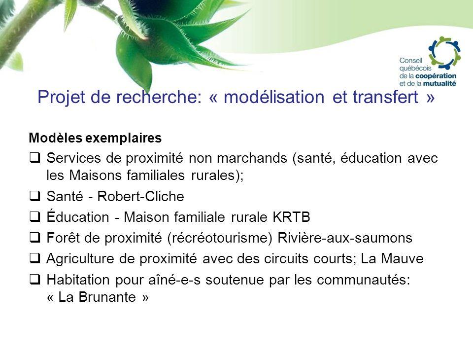 Projet de recherche: « modélisation et transfert » Modèles exemplaires Services de proximité non marchands (santé, éducation avec les Maisons familial