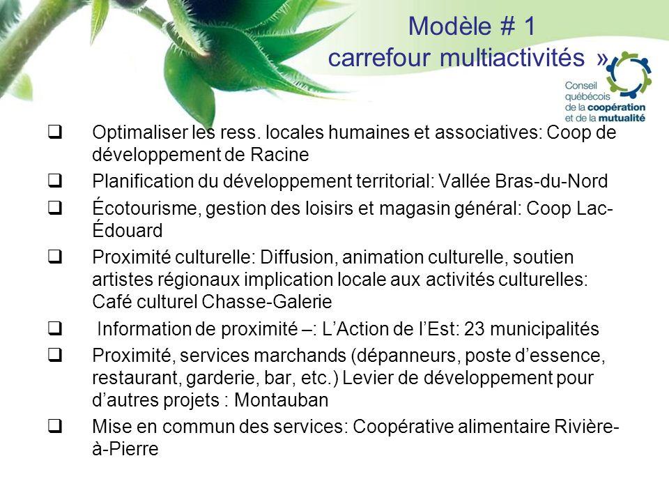 Modèle # 1 carrefour multiactivités » Optimaliser les ress. locales humaines et associatives: Coop de développement de Racine Planification du dévelop