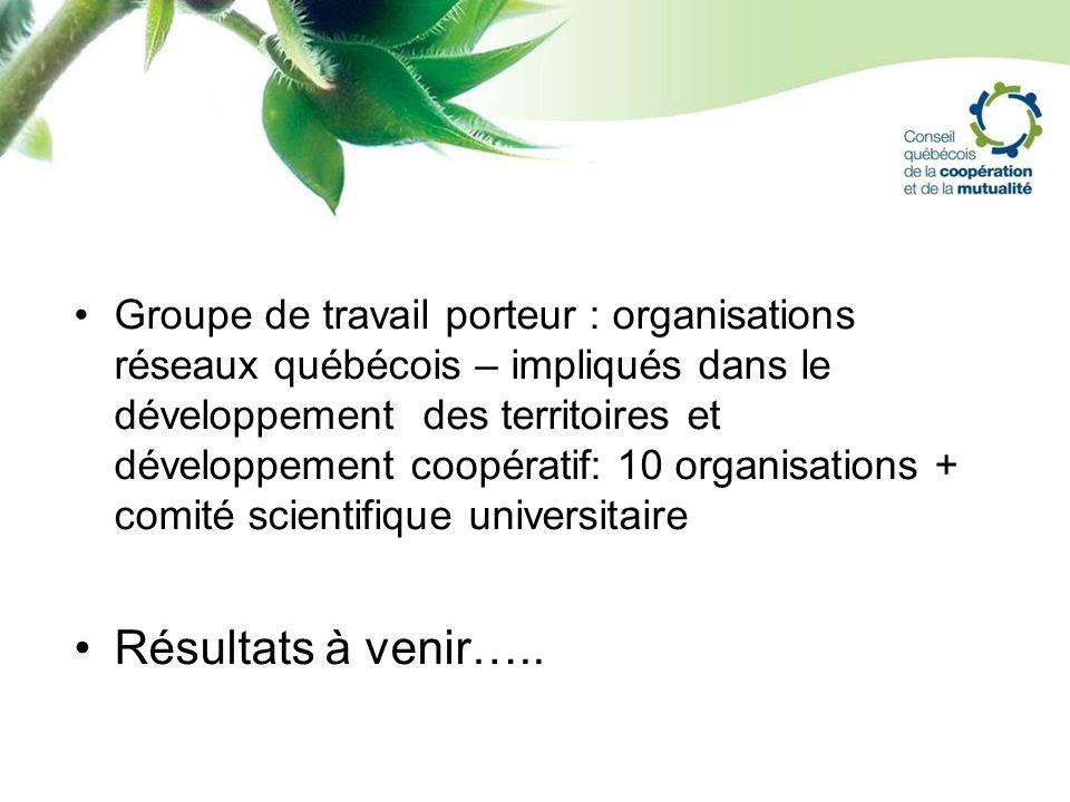 Groupe de travail porteur : organisations réseaux québécois – impliqués dans le développement des territoires et développement coopératif: 10 organisa