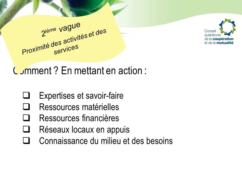 Comment ? En mettant en action : Expertises et savoir-faire Ressources matérielles Ressources financières Réseaux locaux en appuis Connaissance du mil