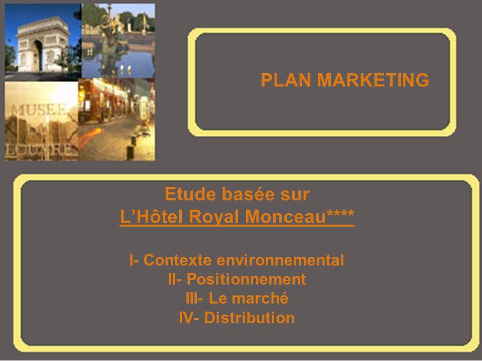 PLAN MARKETING Etude basée sur LHôtel Royal Monceau**** I- Contexte environnemental II- Positionnement III- Le marché IV- Distribution