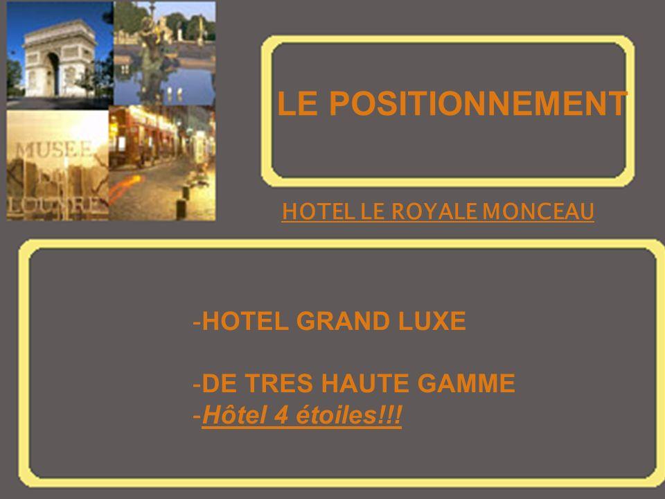 LE POSITIONNEMENT HOTEL LE ROYALE MONCEAU -HOTEL GRAND LUXE -DE TRES HAUTE GAMME -Hôtel 4 étoiles!!!