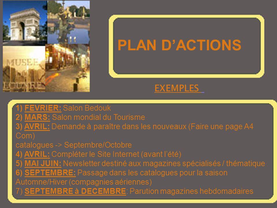 PLAN DACTIONS 1) FEVRIER: Salon Bedouk 2) MARS: Salon mondial du Tourisme 3) AVRIL: Demande à paraître dans les nouveaux (Faire une page A4 Com) catalogues -> Septembre/Octobre 4) AVRIL: Compléter le Site Internet (avant lété) 5) MAI JUIN: Newsletter destiné aux magazines spécialisés / thématique 6) SEPTEMBRE: Passage dans les catalogues pour la saison Automne/Hiver (compagnies aériennes) 7) SEPTEMBRE à DECEMBRE: Parution magazines hebdomadaires EXEMPLES