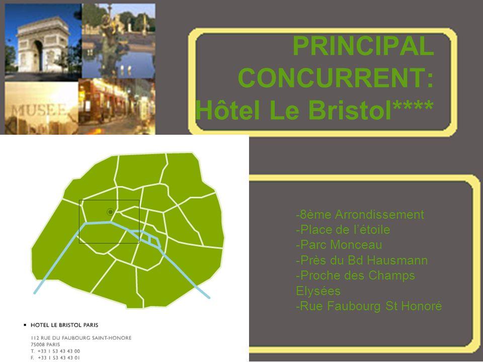 PRINCIPAL CONCURRENT: Hôtel Le Bristol**** -8ème Arrondissement -Place de létoile -Parc Monceau -Près du Bd Hausmann -Proche des Champs Elysées -Rue Faubourg St Honoré